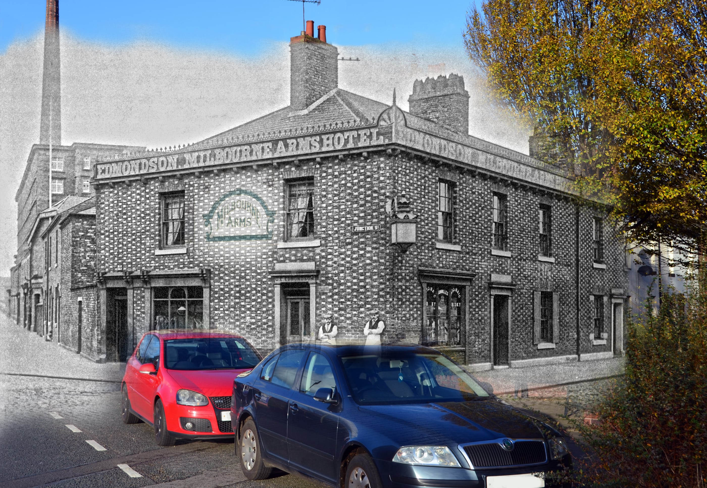 Milbourne Arms then & now blend